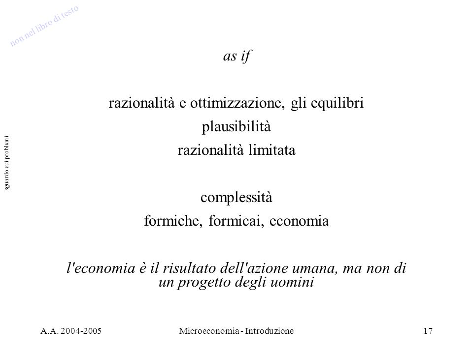 razionalità e ottimizzazione, gli equilibri plausibilità