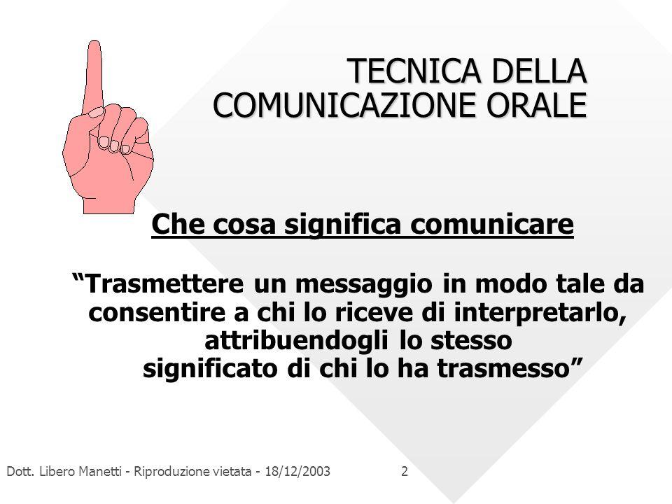 TECNICA DELLA COMUNICAZIONE ORALE