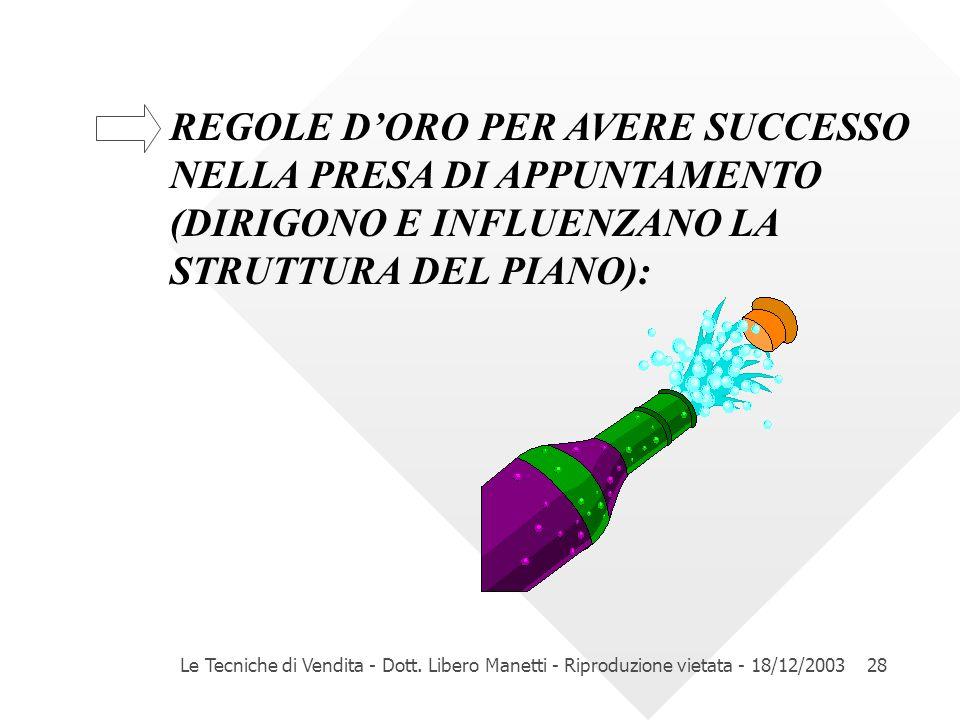REGOLE D'ORO PER AVERE SUCCESSO. NELLA PRESA DI APPUNTAMENTO