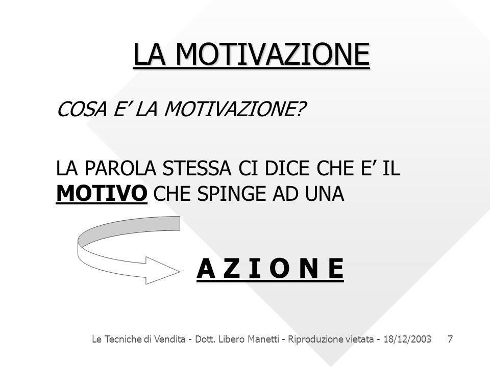 LA MOTIVAZIONE A Z I O N E COSA E' LA MOTIVAZIONE