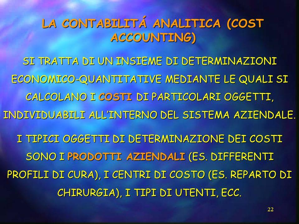 LA CONTABILITÁ ANALITICA (COST ACCOUNTING)