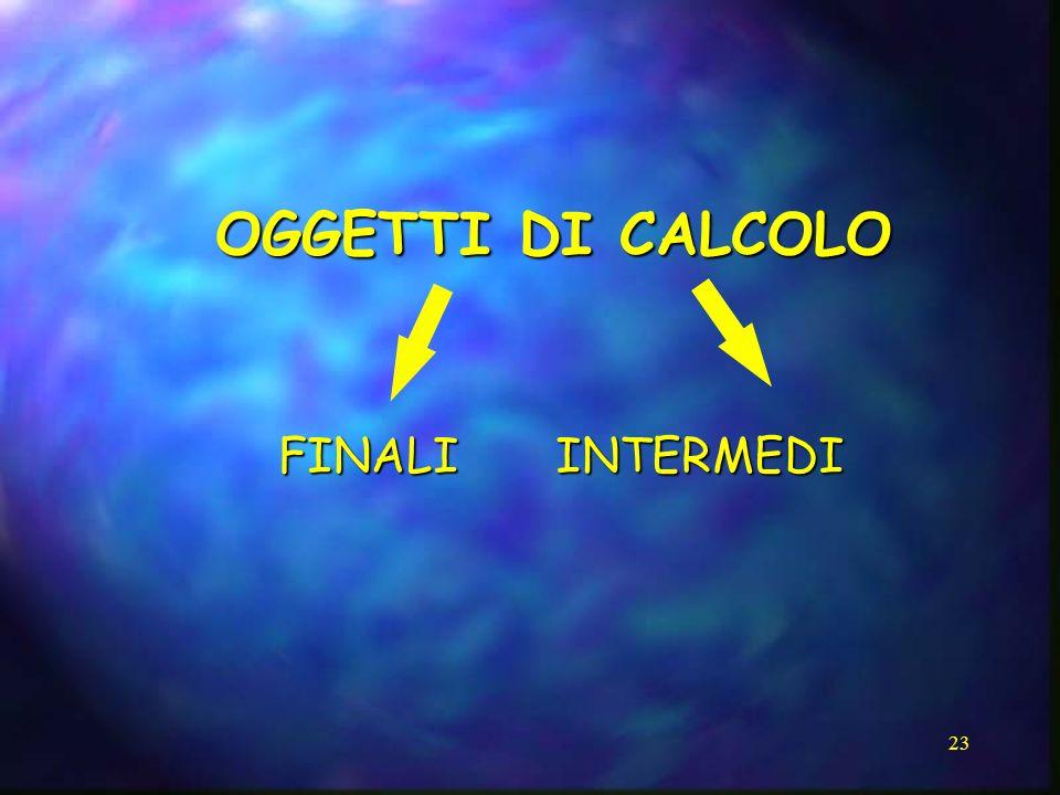 OGGETTI DI CALCOLO FINALI INTERMEDI