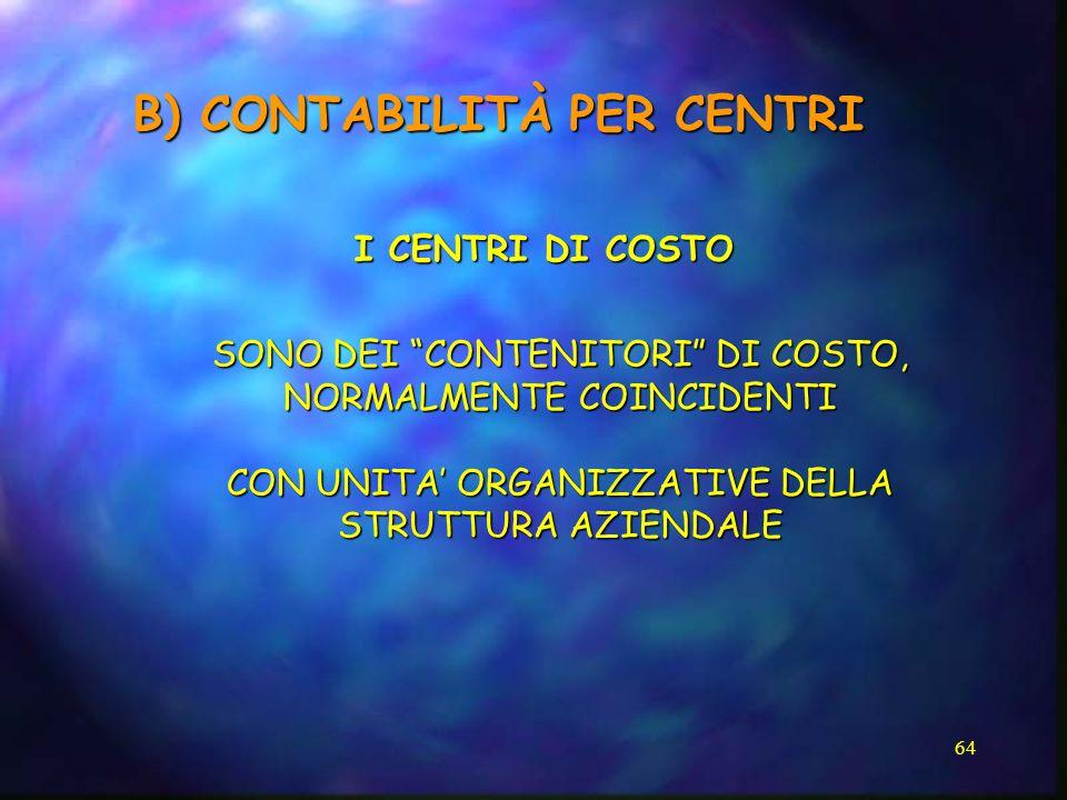 B) CONTABILITÀ PER CENTRI