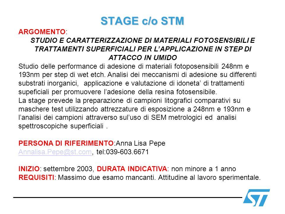 STAGE c/o STM ARGOMENTO: