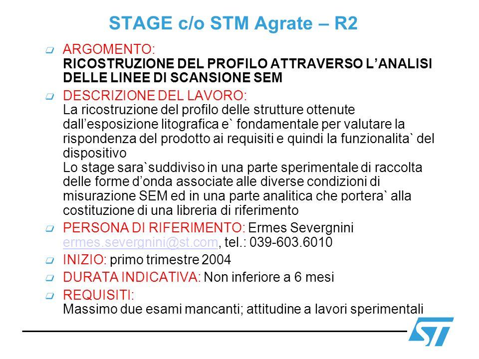STAGE c/o STM Agrate – R2 ARGOMENTO: RICOSTRUZIONE DEL PROFILO ATTRAVERSO L'ANALISI DELLE LINEE DI SCANSIONE SEM.