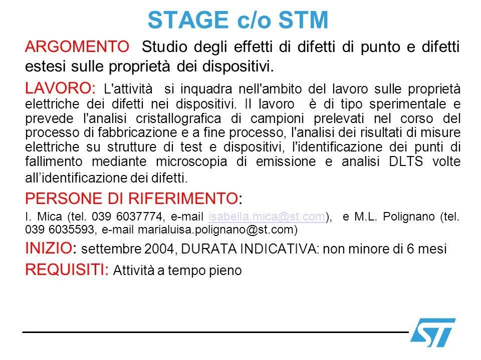 STAGE c/o STM ARGOMENTO Studio degli effetti di difetti di punto e difetti estesi sulle proprietà dei dispositivi.