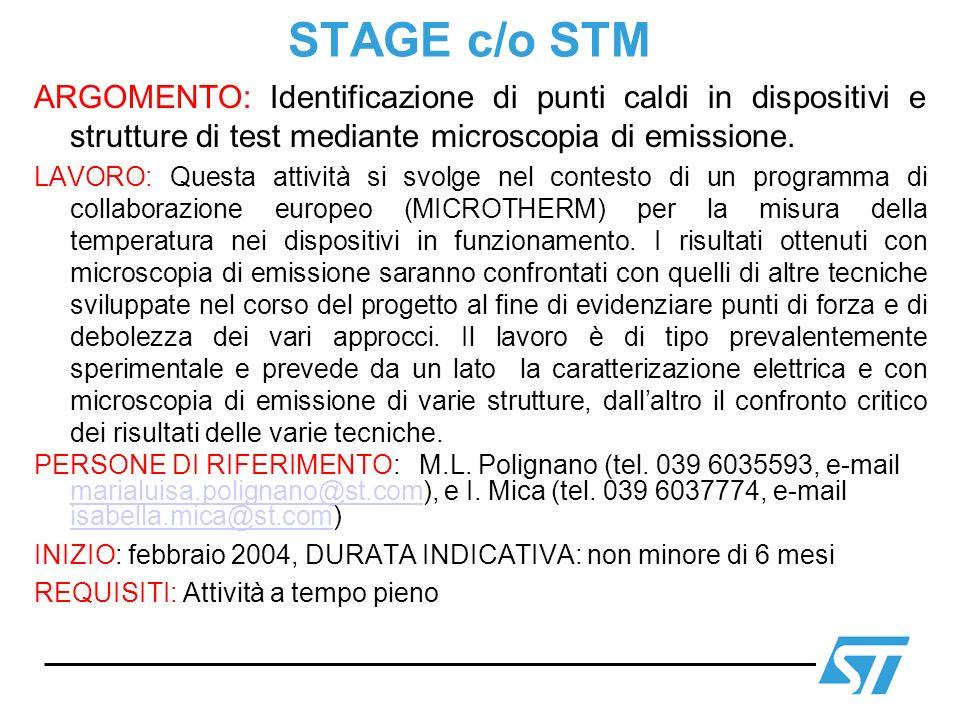 STAGE c/o STM ARGOMENTO: Identificazione di punti caldi in dispositivi e strutture di test mediante microscopia di emissione.