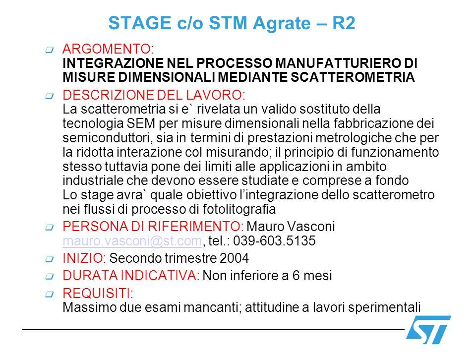 STAGE c/o STM Agrate – R2 ARGOMENTO: INTEGRAZIONE NEL PROCESSO MANUFATTURIERO DI MISURE DIMENSIONALI MEDIANTE SCATTEROMETRIA.