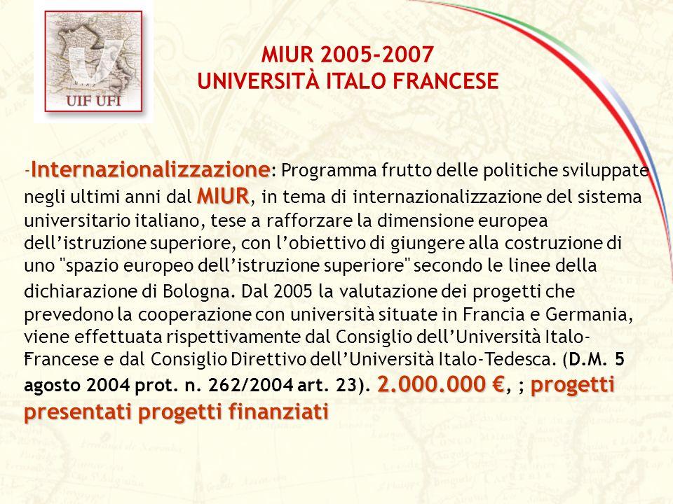 MIUR 2005-2007 UNIVERSITÀ ITALO FRANCESE