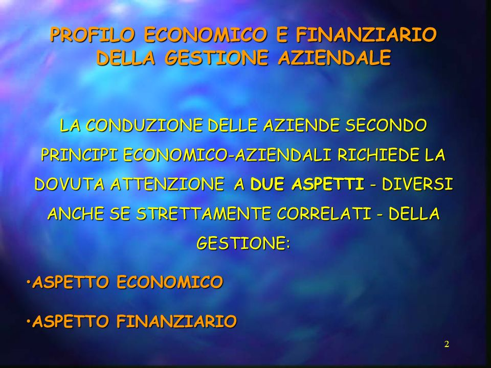 PROFILO ECONOMICO E FINANZIARIO DELLA GESTIONE AZIENDALE