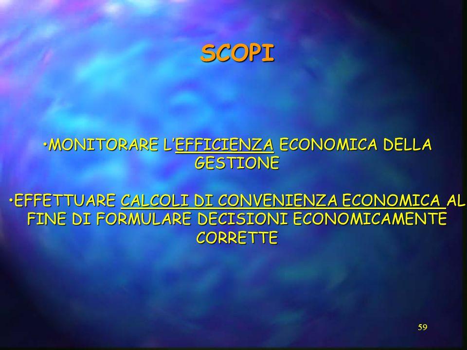MONITORARE L'EFFICIENZA ECONOMICA DELLA GESTIONE