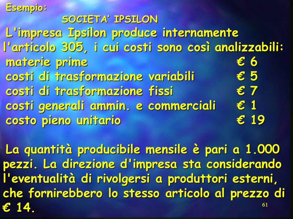 costi di trasformazione variabili € 5