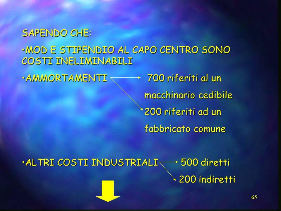 SAPENDO CHE: MOD E STIPENDIO AL CAPO CENTRO SONO COSTI INELIMINABILI. AMMORTAMENTI 700 riferiti al un.