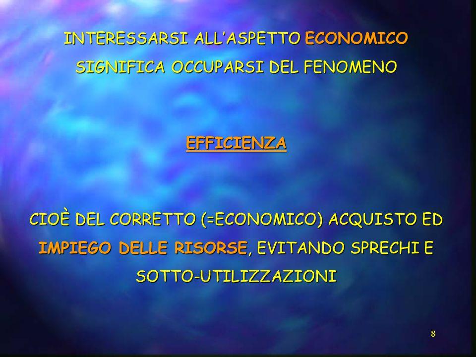 INTERESSARSI ALL'ASPETTO ECONOMICO SIGNIFICA OCCUPARSI DEL FENOMENO