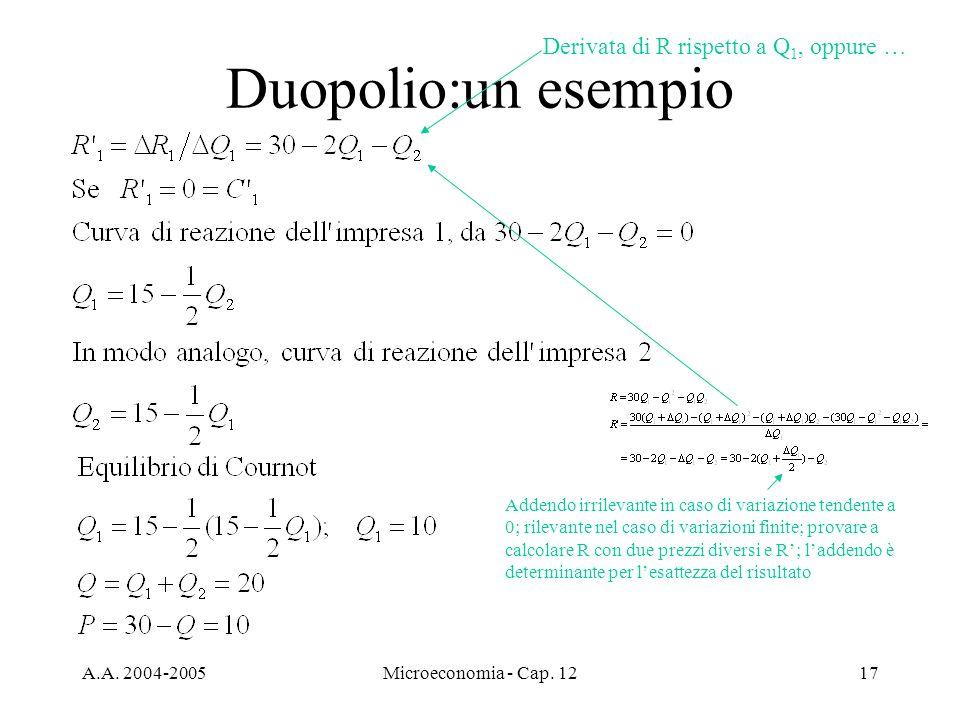 Duopolio:un esempio Derivata di R rispetto a Q1, oppure …