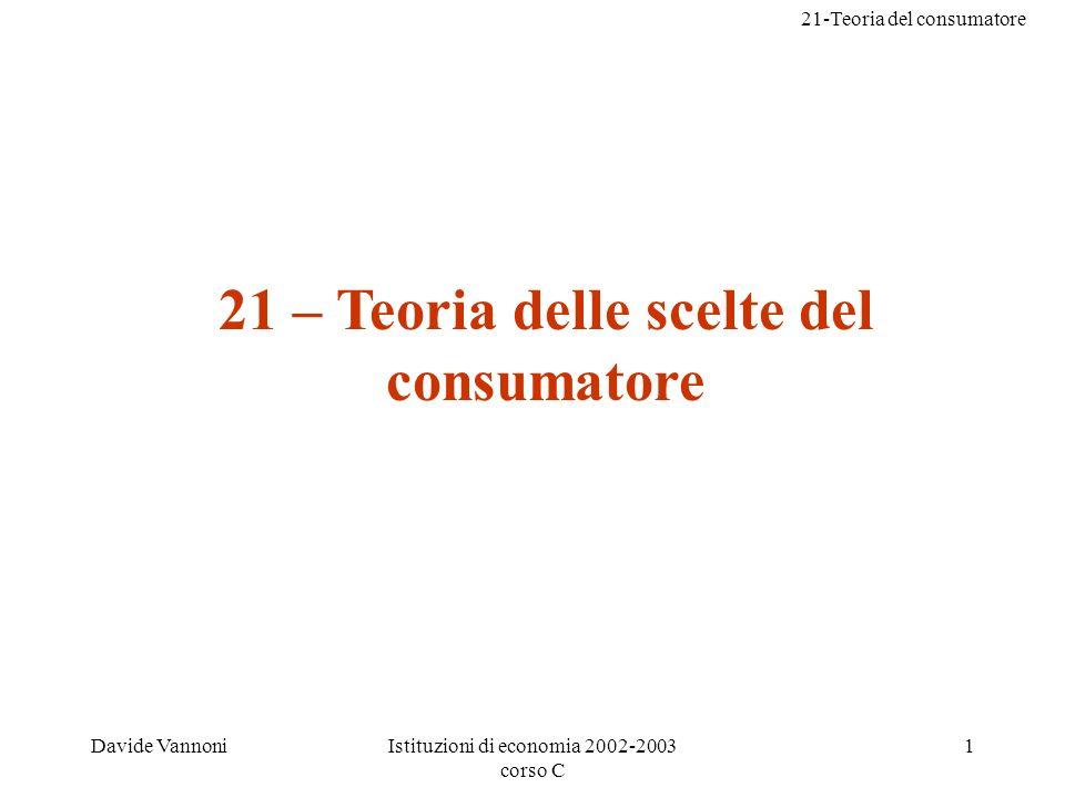 21 – Teoria delle scelte del consumatore