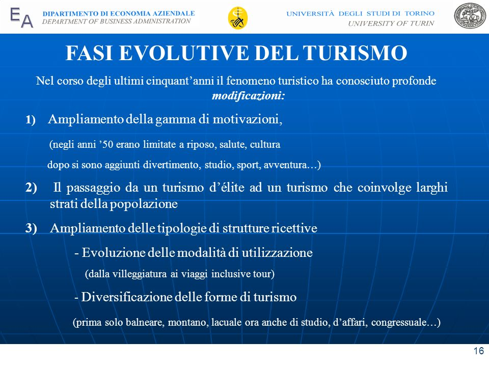 FASI EVOLUTIVE DEL TURISMO