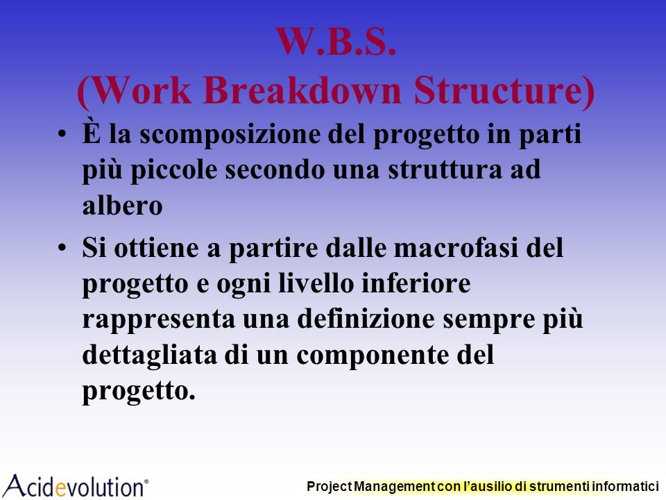 W.B.S. (Work Breakdown Structure)