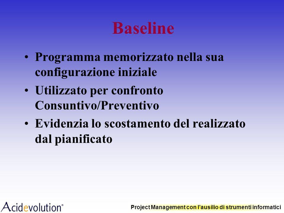 Baseline Programma memorizzato nella sua configurazione iniziale
