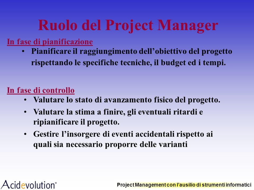 Ruolo del Project Manager