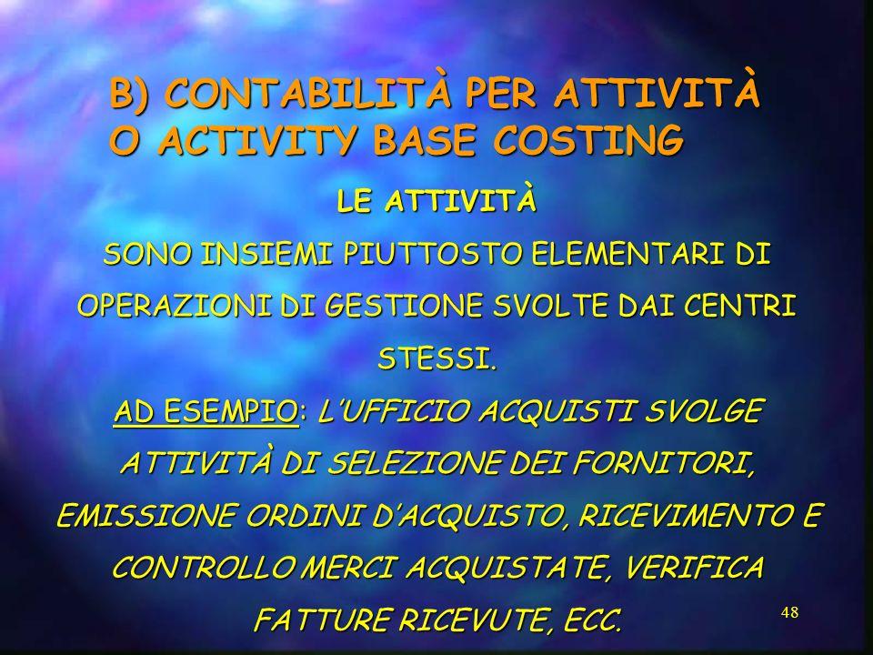 B) CONTABILITÀ PER ATTIVITÀ O ACTIVITY BASE COSTING