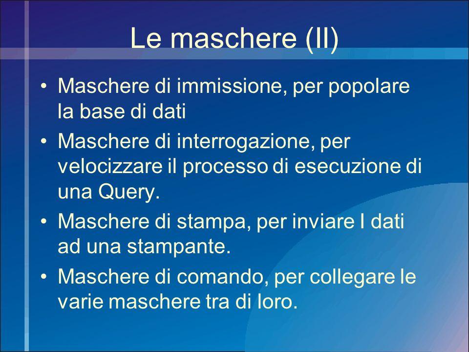 Le maschere (II) Maschere di immissione, per popolare la base di dati