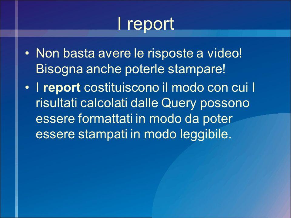 I report Non basta avere le risposte a video! Bisogna anche poterle stampare!