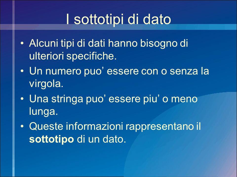 I sottotipi di dato Alcuni tipi di dati hanno bisogno di ulteriori specifiche. Un numero puo' essere con o senza la virgola.