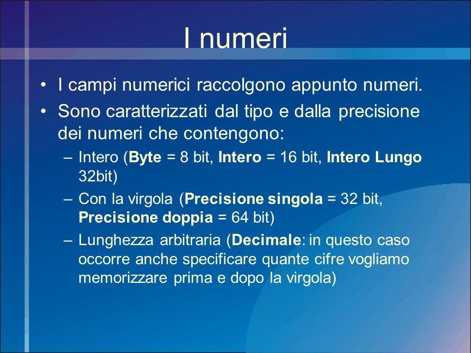 I numeri I campi numerici raccolgono appunto numeri.