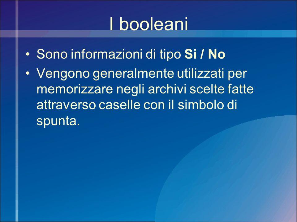 I booleani Sono informazioni di tipo Si / No