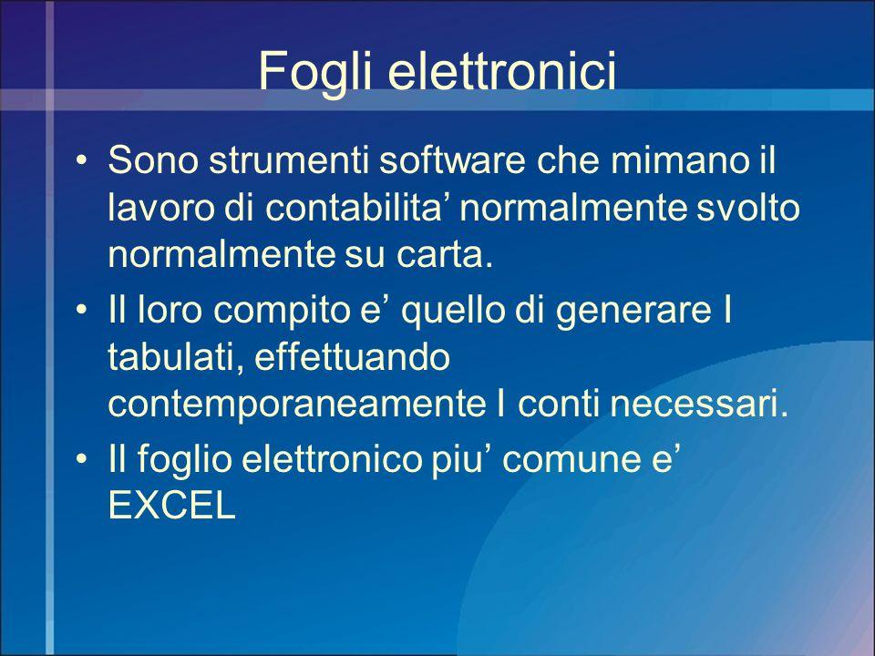Fogli elettronici Sono strumenti software che mimano il lavoro di contabilita' normalmente svolto normalmente su carta.