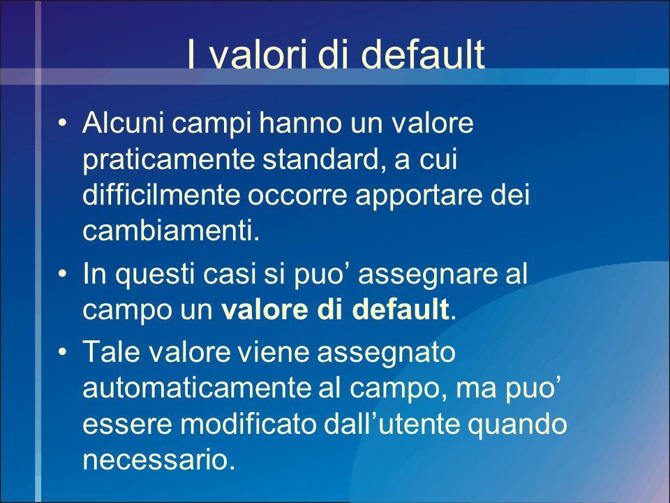I valori di default Alcuni campi hanno un valore praticamente standard, a cui difficilmente occorre apportare dei cambiamenti.
