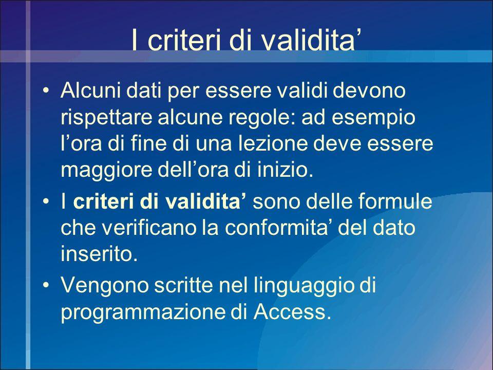 I criteri di validita'