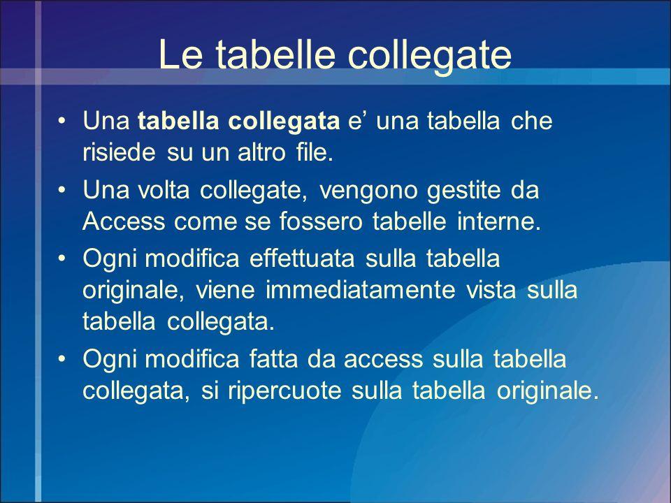 Le tabelle collegate Una tabella collegata e' una tabella che risiede su un altro file.