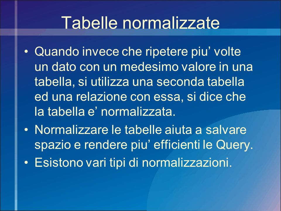 Tabelle normalizzate