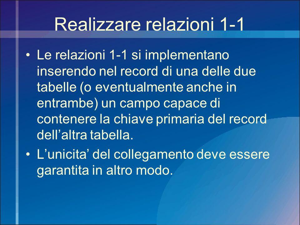 Realizzare relazioni 1-1