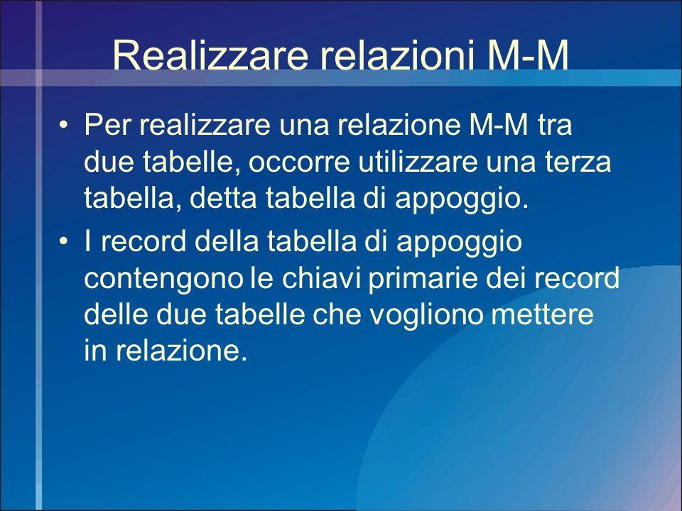 Realizzare relazioni M-M