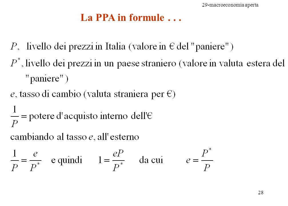 La PPA in formule . . .