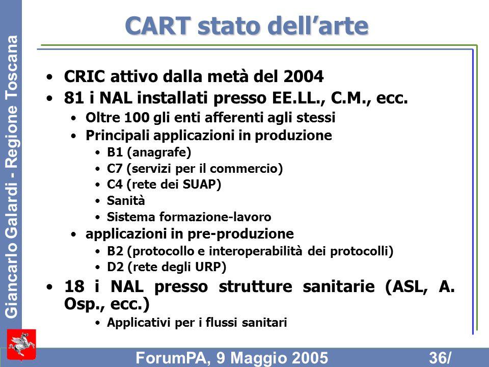 CART stato dell'arte CRIC attivo dalla metà del 2004