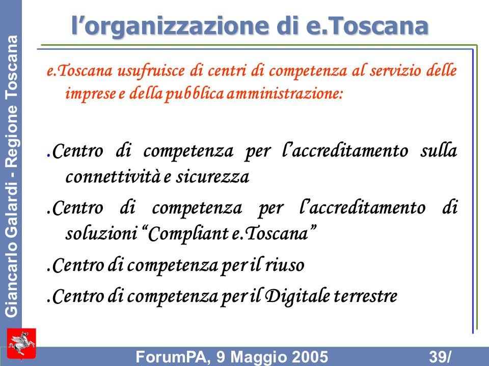 l'organizzazione di e.Toscana