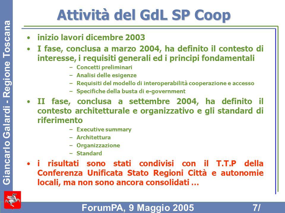 Attività del GdL SP Coop