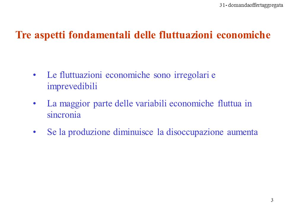 Tre aspetti fondamentali delle fluttuazioni economiche