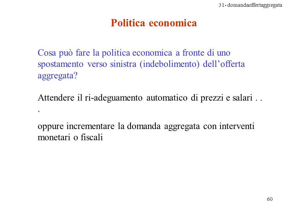 Politica economica Cosa può fare la politica economica a fronte di uno spostamento verso sinistra (indebolimento) dell'offerta aggregata