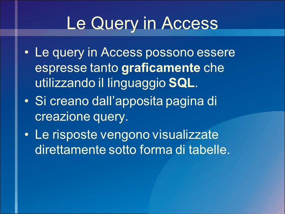 Le Query in Access Le query in Access possono essere espresse tanto graficamente che utilizzando il linguaggio SQL.