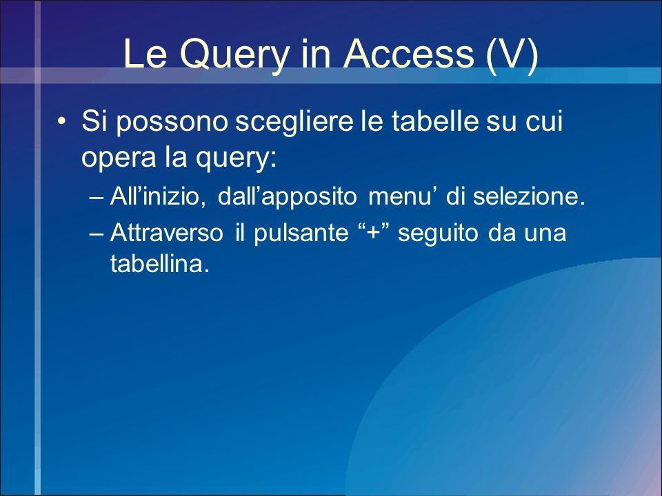 Le Query in Access (V) Si possono scegliere le tabelle su cui opera la query: All'inizio, dall'apposito menu' di selezione.