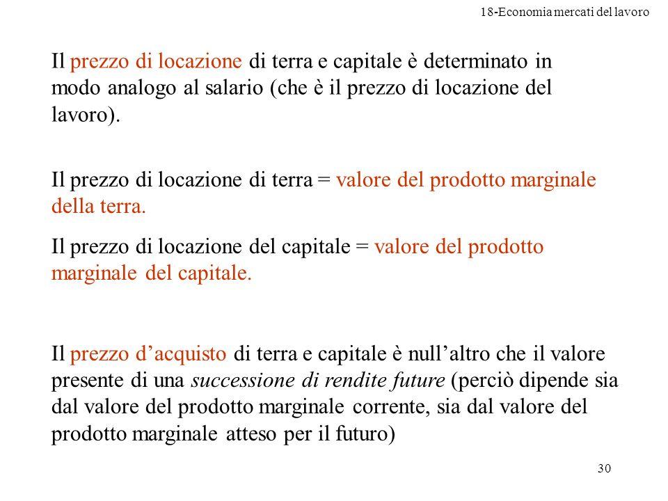 Il prezzo di locazione di terra e capitale è determinato in modo analogo al salario (che è il prezzo di locazione del lavoro).
