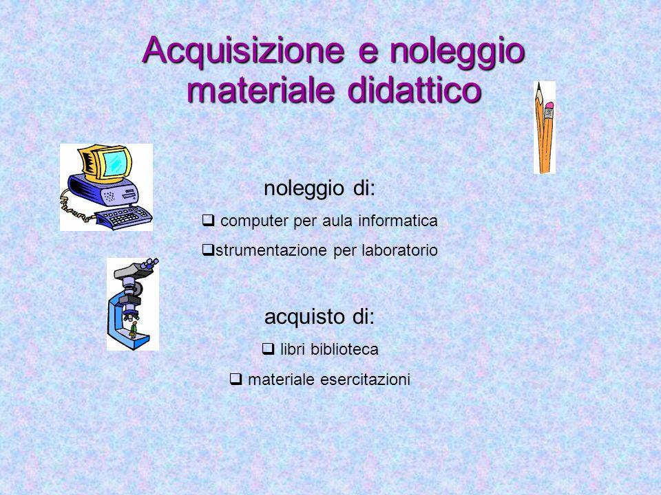 Acquisizione e noleggio materiale didattico
