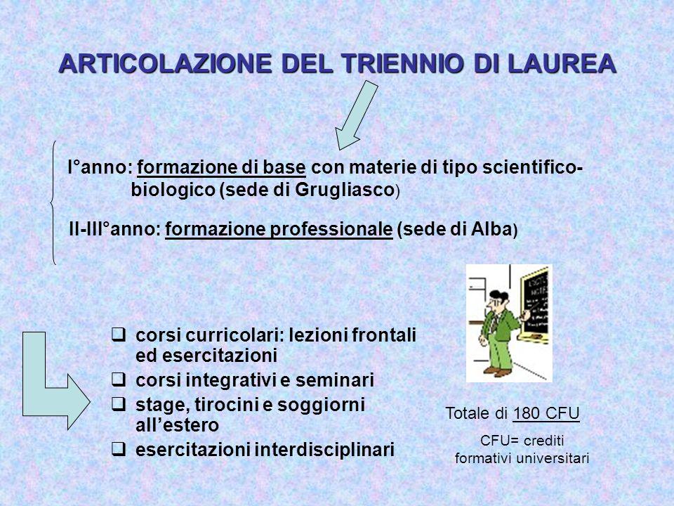 ARTICOLAZIONE DEL TRIENNIO DI LAUREA