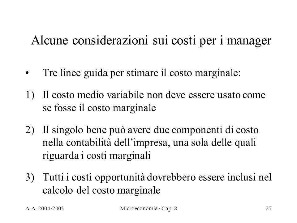 Alcune considerazioni sui costi per i manager