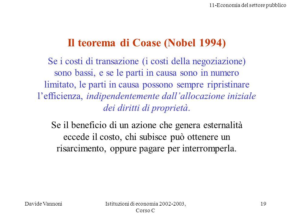 Il teorema di Coase (Nobel 1994)